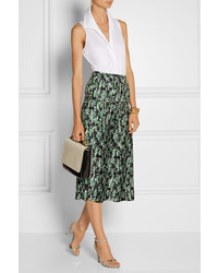 Marni Pleated Floral Print Silk Midi Skirt | Where to buy & how to ...
