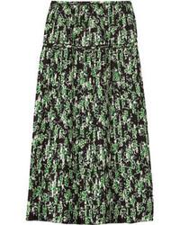 Pleated floral print silk midi skirt medium 79014