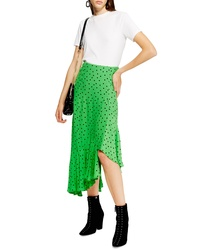 Topshop Spot Frill Midi Skirt
