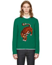 Green Print Crew-neck Sweater
