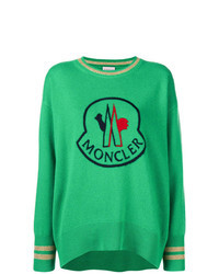 Green Print Crew-neck Sweater