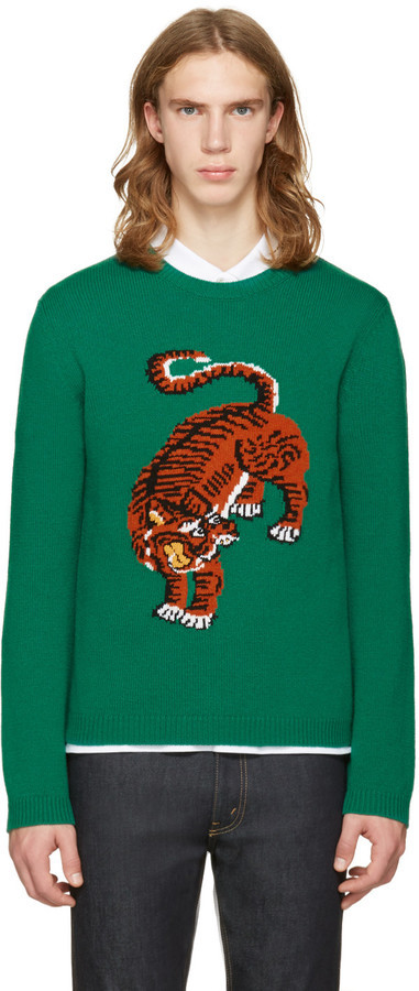 de99db4cb Gucci Green Tiger Sweater, $980 | SSENSE | Lookastic.com