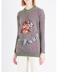 Leopard jacquard print wool jumper medium 3665647