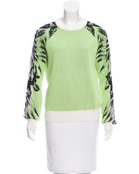 Printed rib knit sweater medium 3665646