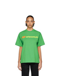 ARIES Green New Balance Edition Logo T Shirt