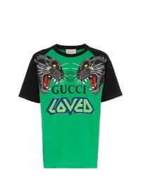 40f88efff84 Gucci Over Tiger Head Print Cotton T Shirt