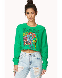 Green Print Cropped Sweater