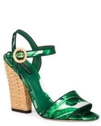 Dolce & Gabbana Banana Leaf Raffia Heel Sandals