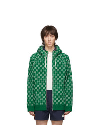 Gucci Green And Off White Wool Gg Zip Hoodie