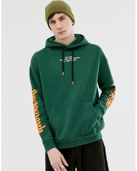 YOURTURN Hoodie In Green With Chest And Sleeve Print