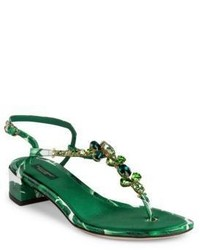 Dolce & Gabbana Banana Leaf Leather Block Heel T Strap Sandals