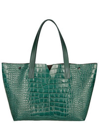Vince Signature V Croc Print Tote Bag Forest Green