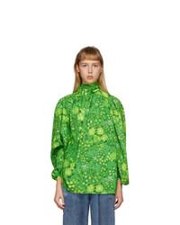 Balenciaga Green Silk Floral Twisted Blouse