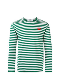 Comme Des Garcons Play Comme Des Garons Play Striped Heart Embellished Top