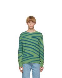 Eckhaus Latta Green And Blue Lapped Long Sleeve T Shirt