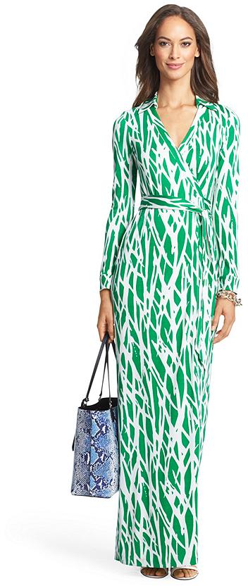 952f94a2e69 Diane von Furstenberg Heritage New Jeanne Two Long Maxi Silk Jersey Wrap  Dress