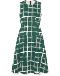 Marni Printed Cotton And Flax Blend Midi Dress