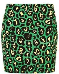 Green Print Mini Skirt