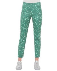 Akris Punto Franca Tumbling Print Ankle Pants Grasscream