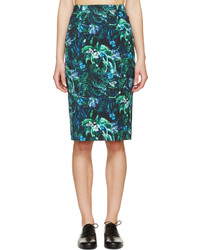 Green tropical frida pencil skirt medium 216591