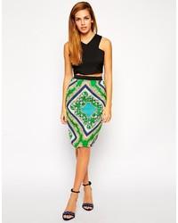 Jasmine scarf print pencil skirt medium 216596