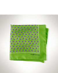 Green Print Pocket Square