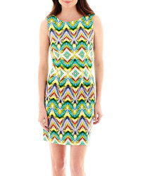 jcpenney Alyx Sleeveless Print Basic Sheath Dress