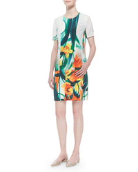 St. John Collection Tropical Floral Print Stretch Silk Dress