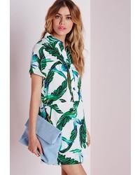 Missguided Waisted Shirt Dress Ivorygreen Palm Print