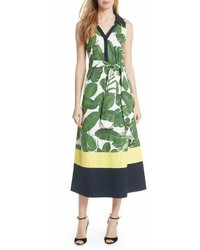 Alice + Olivia Margot Leaf Print Midi Dress