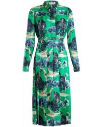Gucci Wild Cat Print Silk Twill Shirt Dress