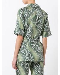 Green Print Short Sleeve Blouse