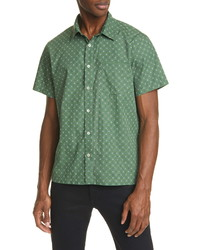 A.P.C. Cippo Slim Fit Print Short Sleeve Button Up Shirt