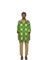 Gucci Green Wrinkled Harness Shirt