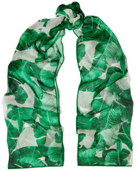 Printed silk chiffon scarf green medium 696842