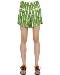 Sanchita Cactus Printed Silk Twill Shorts