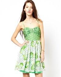 Traffic people minnie mix print cami dress green medium 30387