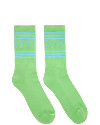 Versace Green And Blue 1990s Logo Socks