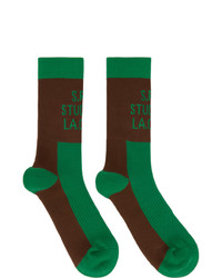 S.R. STUDIO. LA. CA. Green And Brown Contrast Socks