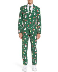 OppoSuits Santaboss Trim Fit Two Piece Suit With Tie