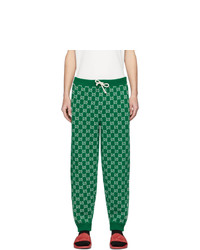 Gucci Green And Off White Wool Gg Lounge Pants