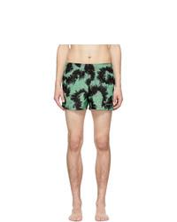 Givenchy Black And Green Printed Swim Shorts