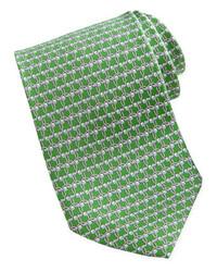 Salvatore Ferragamo Golf Print Silk Tie Green