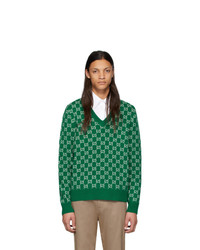 Gucci Green And Off White Wool Gg V Neck Sweater