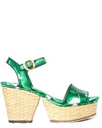 Dolce & Gabbana Banana Leaf Print Wicker Wedge Sandals