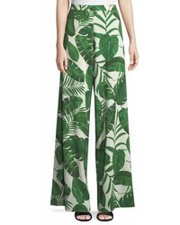 Alice + Olivia Athena Super Flared Palm Leaf Print Pants