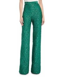 Brandon Maxwell High Waist Leopard Jacquard Wide Leg Pants