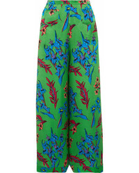 Etro Floral Print Hammered Silk Satin Wide Leg Pants Green