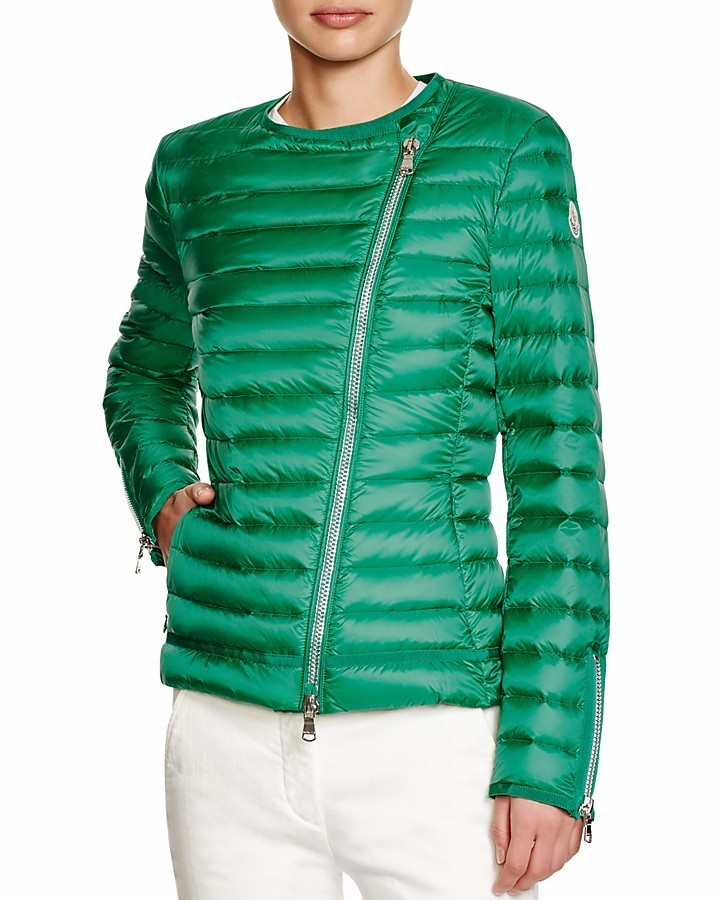 ... Moncler Amey Asymmetrical Collarless Packable Down Jacket ...