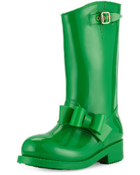 RED Valentino Side Bow Mid Calf Rain Boot Green